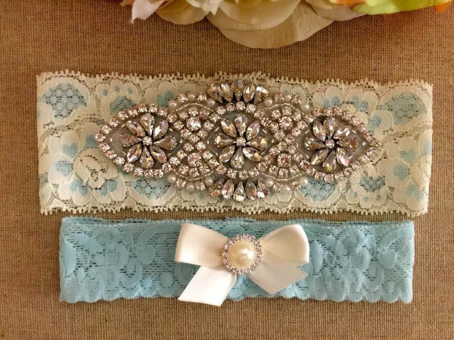 Свадьба - Wedding Garter - Bridal Garter - Couture Pearl and Crystal Rhinestone Garter and Toss Garter Set on Ivory Lace
