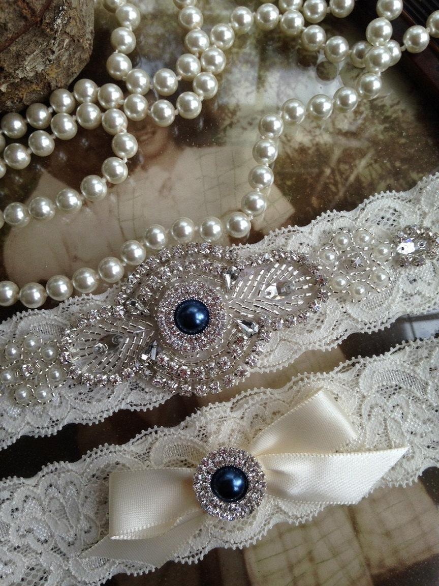 Свадьба - Wedding Garter-Bridal Garter-Garter-Custom garter-Something Blue-Navy-Rhinestone-Blue-Keepsake-Lace Garter-Ivory-Garter Belt-Elastic Lace