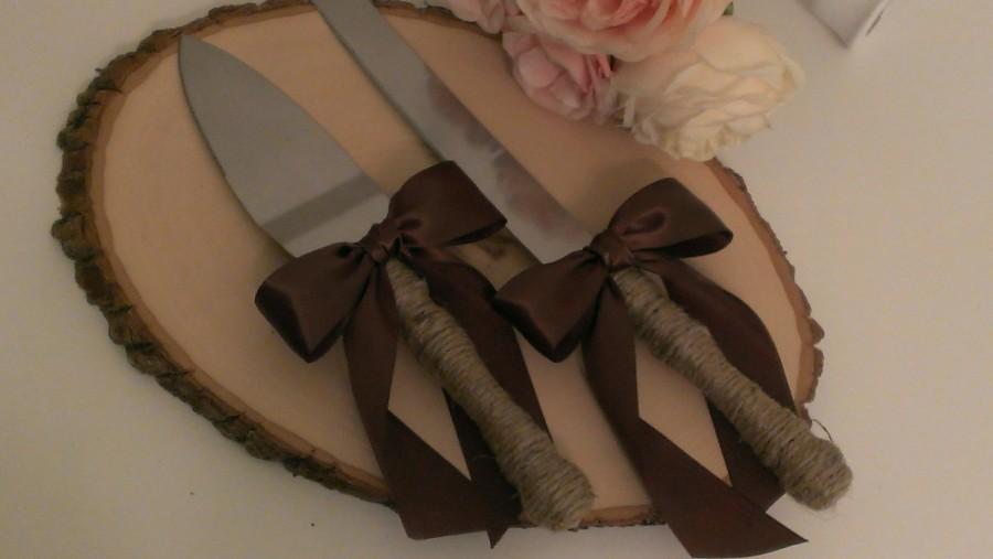 Свадьба - rustic cake knife, country wedding cake serving set, burlap and lace, mason jar wedding, custom color ribbon (K132)