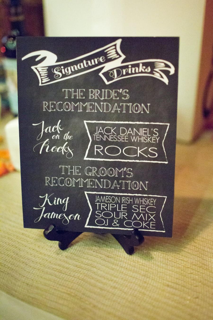 Mariage - Signature Drinks chalkboard print - Bride/Groom Wedding - DIGITAL or PRINTED