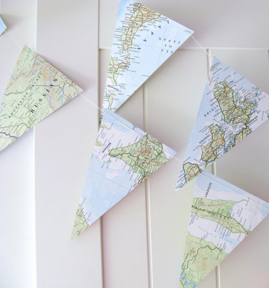 Atlas bunting map bunting 5ft long map decor wedding for Wedding dress for 5ft bride