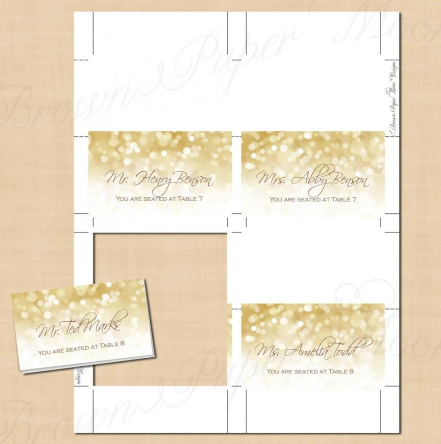 White gold sparkles place card tent fold to 35x2 text editable printable on avery products for Tent place card template
