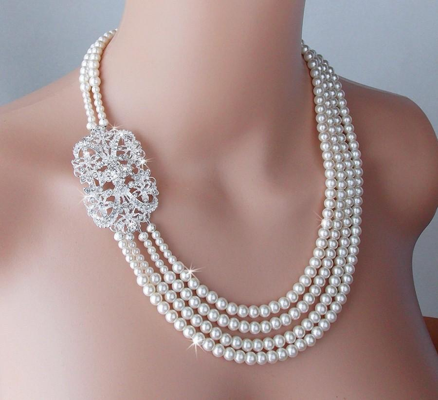 Mariage - Wedding Necklace, Gatsby Necklace, Pearl Necklace, Vintage Style, Old Hollywood, Statement Necklace - EMILY
