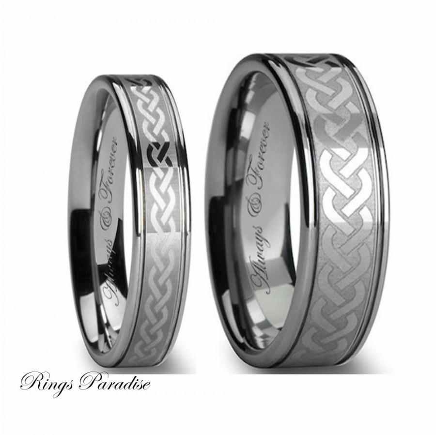 Tungsten Wedding Bands Set Celtic Celtic Ring Tungsten Ring Tungsten Carbide Engagement