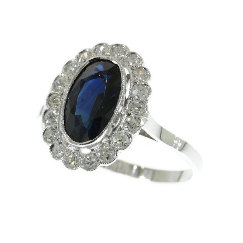 Wedding - Sapphire Engagement Ring - Art Deco Diamond Sapphire Platinum Ring 1920s