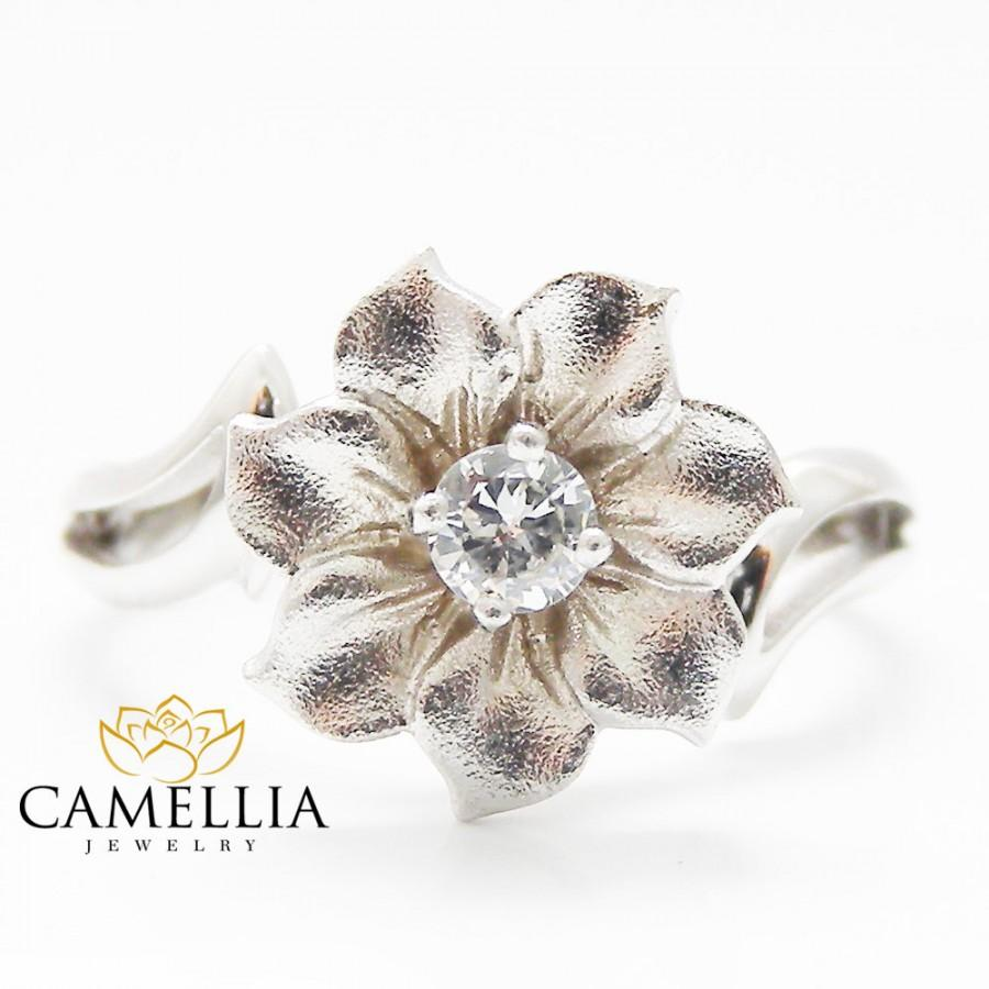 Mariage - Flower Gold Diamond Wedding Ring Leaf and Flower Diamond Ring Unique Engagement Ring Christmas Gifts Ring