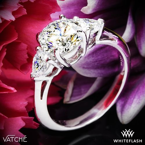 Wedding - Platinum Vatche 310 Round And Pear 3 Stone Engagement Ring For 1.50ct Center Diamond (0.60ctw Pear Side Diamonds Included)