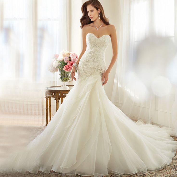 Mariage - Lace Applique Crystal Beading Mermaid Wedding Dress