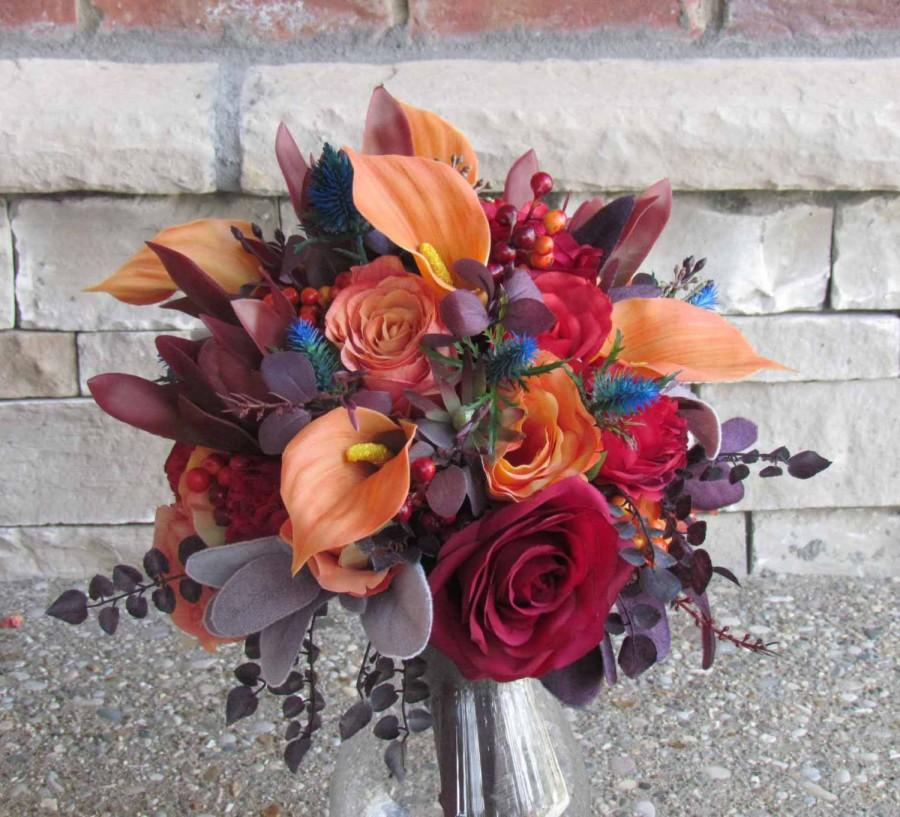 Mariage - Fall Bridal Bouquet in Oranges, Reds & Burgundy for your Wedding, Example Only!! DO NOT PURCHASE