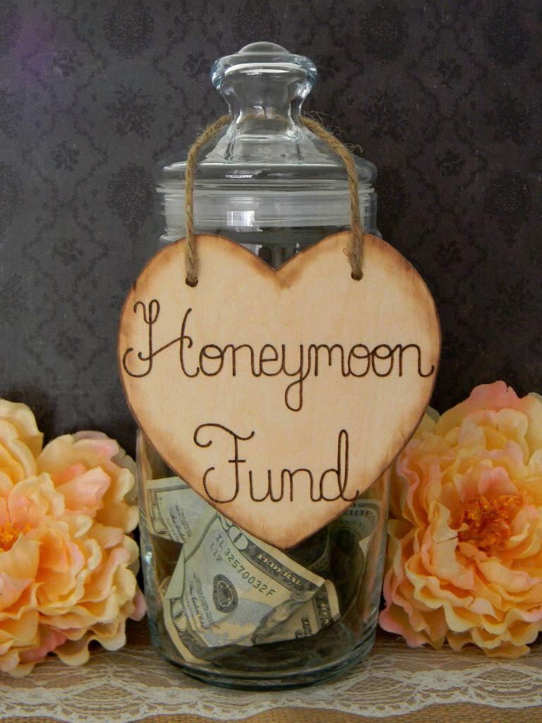 Mariage - Wooden Heart Sign Wood Burned Engraved Rustic Sign Honeymoon Fund Sparklers Cards Bubbles Custom