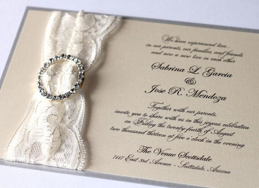 Hochzeit - Sabrina Lace Wedding Invitation - Couture Wedding Invitation - Crystal Buckle Wedding Invitation - Ivory, Cream, Silver, Lace - Sample
