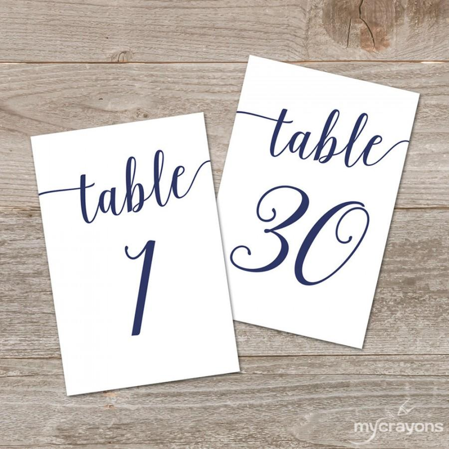 Navy script table numbers bella script printable table for Table numbers