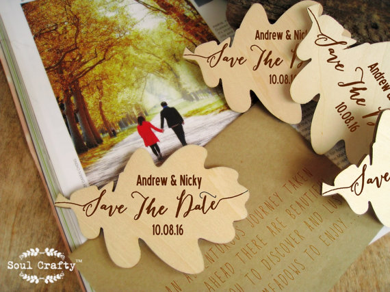 save the date wooden leaft fridge magnet engraved rustic spring