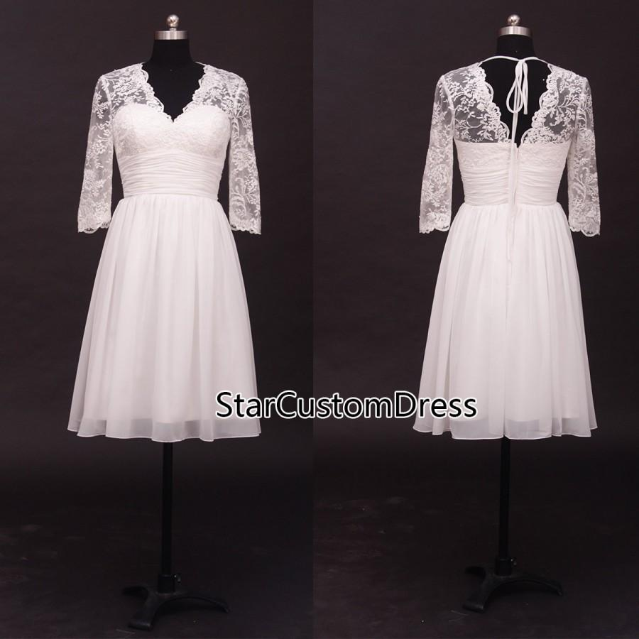 Short lace wedding dress ivory half sleeves chiffon for Wedding dresses tea length with sleeves