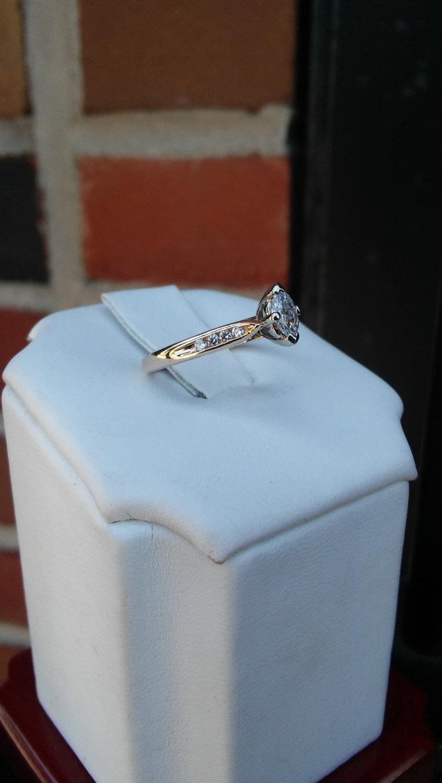 Mariage - Vintage Designer Lib Co 2 Petite 14k Yellow Gold Marquise Diamond Ring