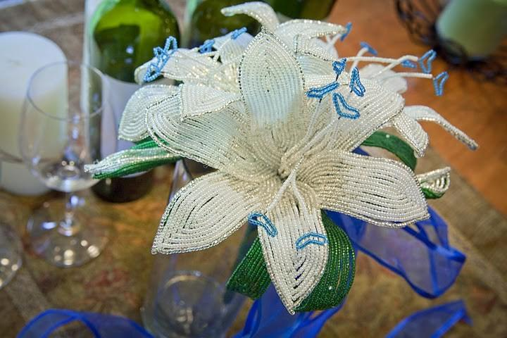 Wedding - Silver and white lilies wedding bouquet blue heart center, faux flowers, fresh alternative
