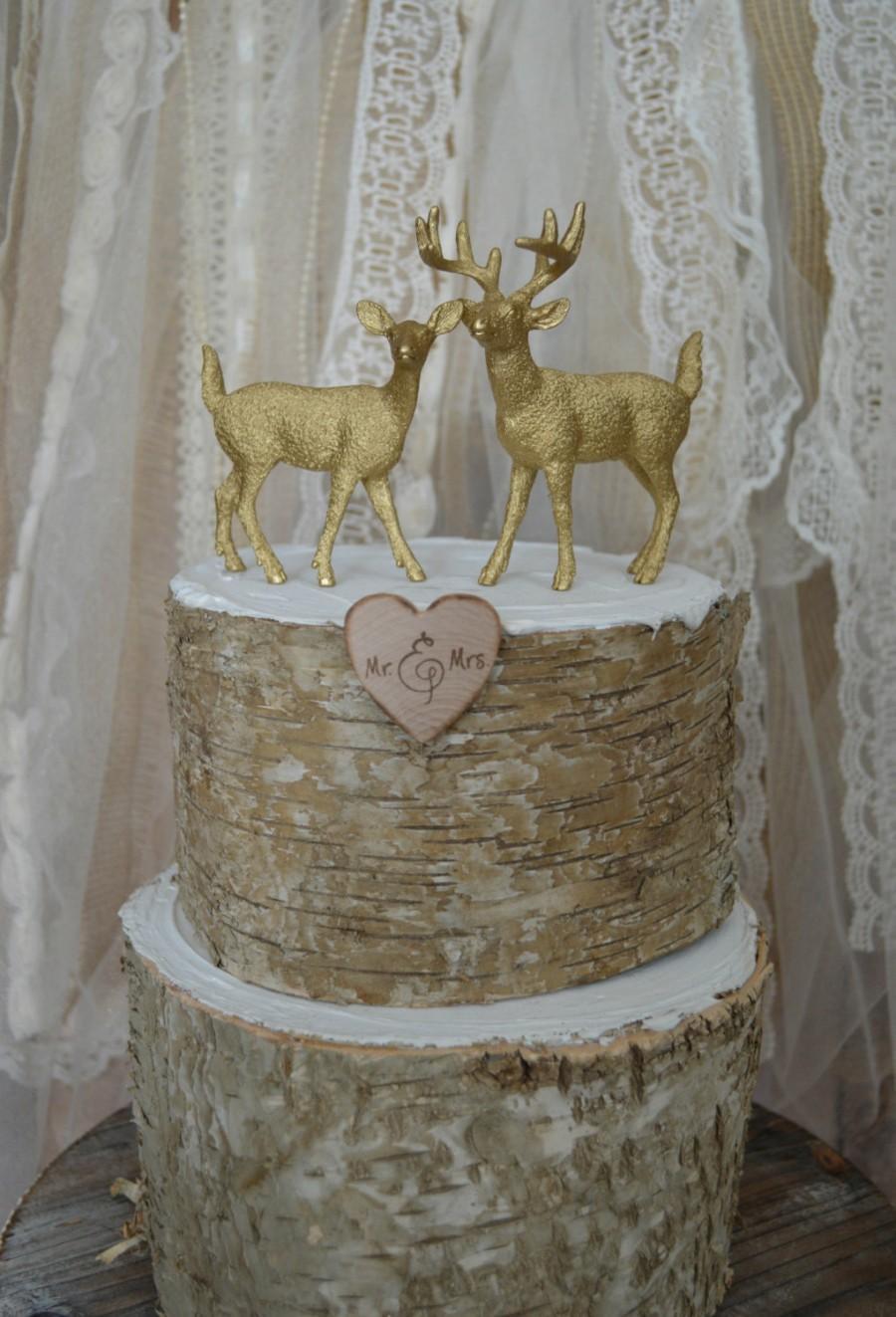 Mariage - Deer-buck and doe-wedding cake topper-fall wedding-rustic wedding-deer lover-deer hunter-hunting groom-deer wedding-western wedding