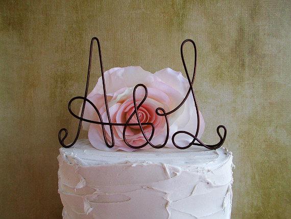 Mariage - Personalized Initials Wedding Cake Topper, Rustic Wedding Cake Topper, Shabby Chic Wedding Cake Topper, Wedding Cake Topper