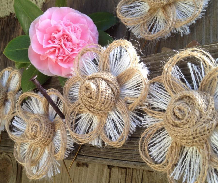 Mariage - Natural Rustic Burlap Country Wedding Cake Topper Set of 6 Flowers