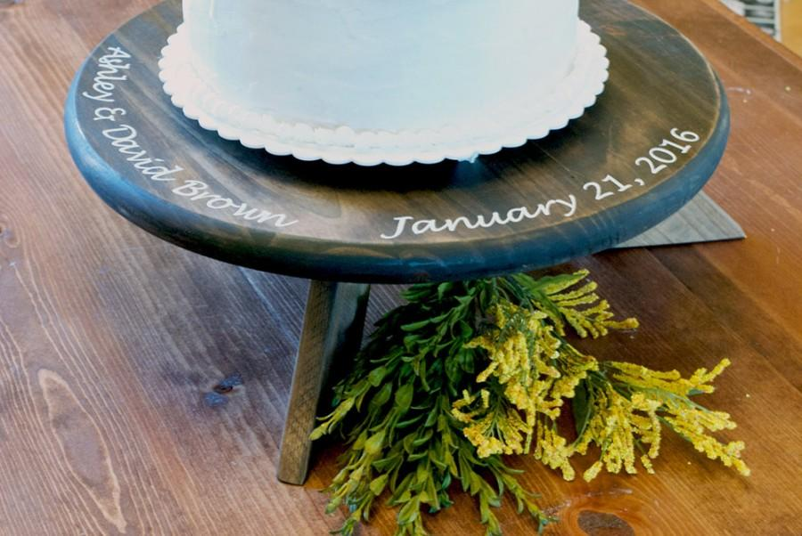 Personalized Wedding Cake Stand Rustic Round
