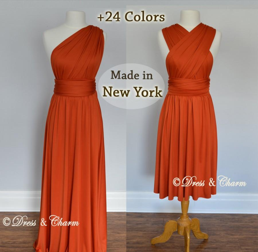 Orange Burnt Party Dresses Convertible Wrap Dress Formal Dress