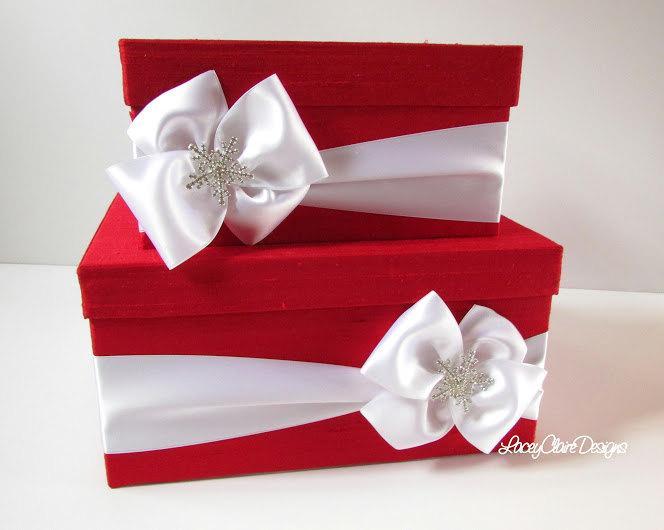 Mariage - Wedding Card Box Money Holder Winter Wedding Card Box - Custom Made to Order