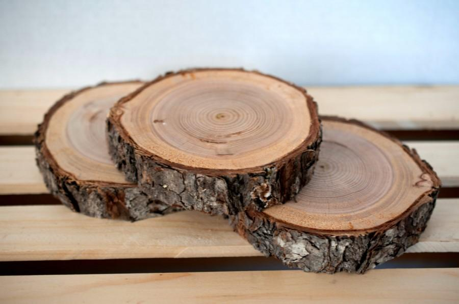 "Mariage - Large Wood Slice 5""-6"" Rustic Wood Slice, Large Wood Slice, Wedding Table Display Wood Slab, Rustic Wedding Decor"