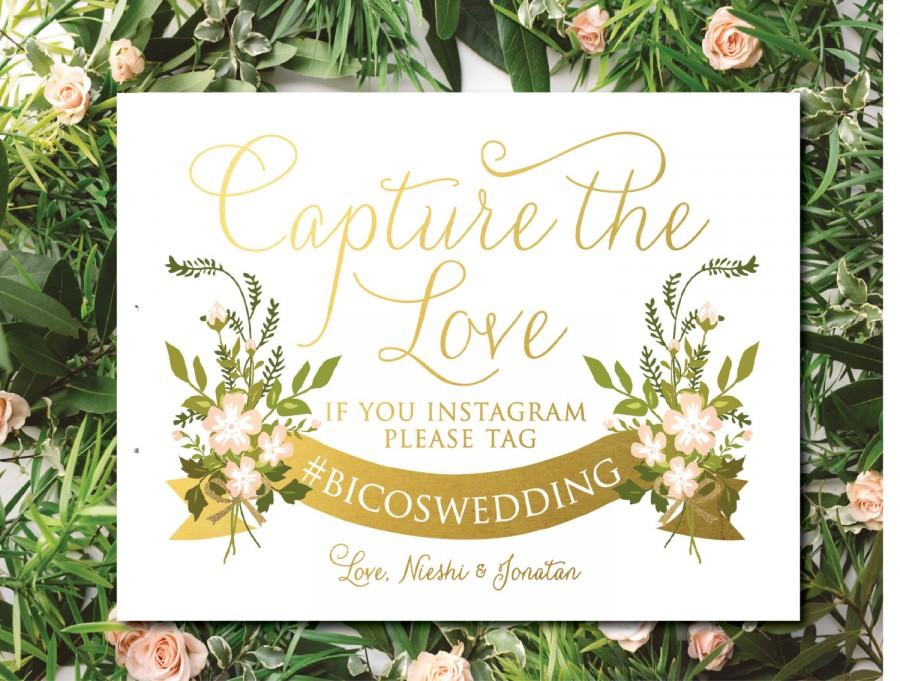 Find The Emoji Wedding.Instagram Sign Shimmer White With Gold And Blush Flowers Custom