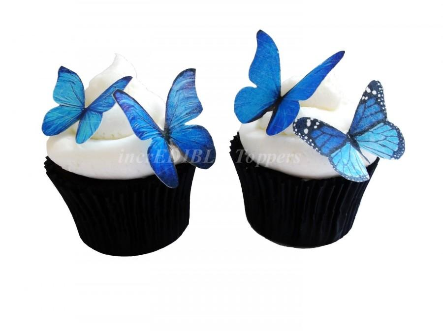 Свадьба - WEDDING CAKE toppers - Blue Edible Butterflies - Edible Cupcake Decorations, Birthday Cake, Destination Wedding