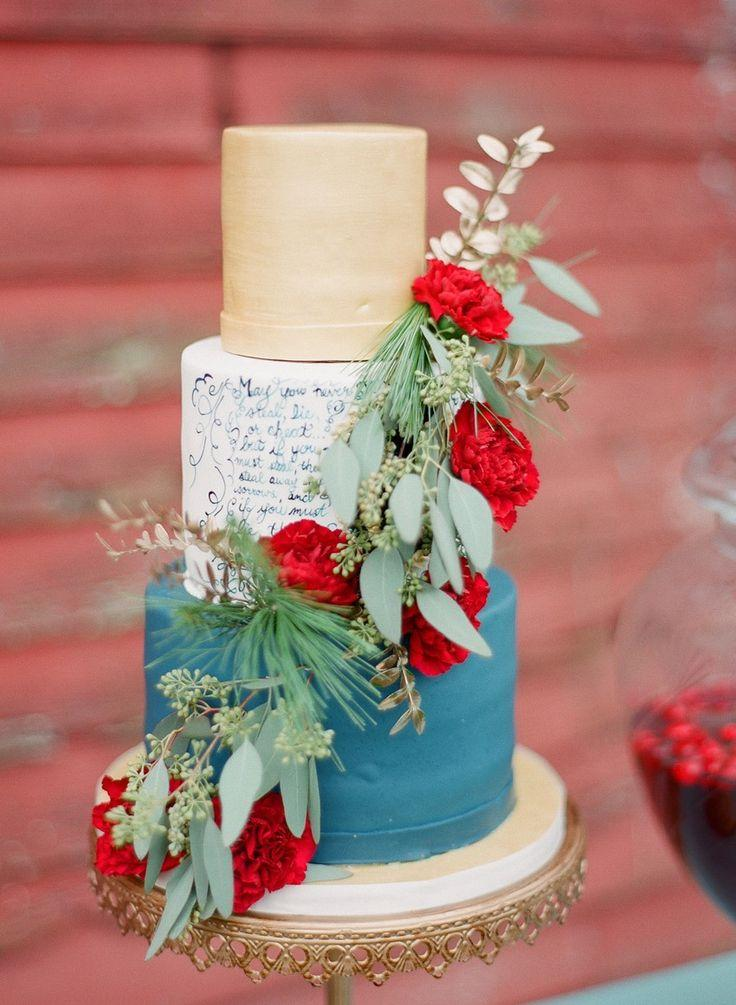 Rustic Vintage Winter Wedding Inspiration In Red Blue Gold