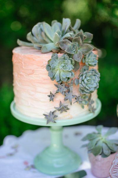 Hochzeit - Gorgeous Ombre Wedding Cake With Succulents