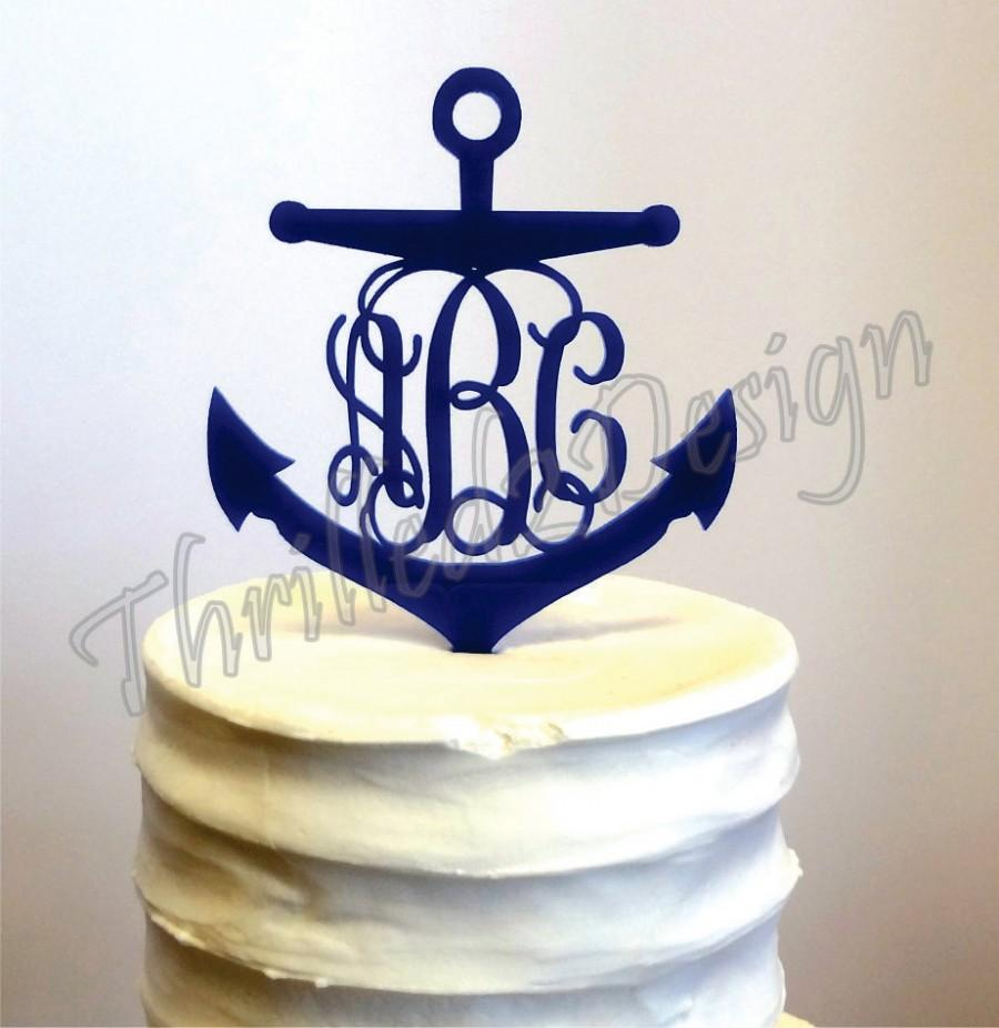4 inch anchor with vine monogram cake topper celebrate for Anchor decoration party