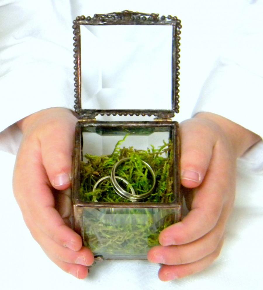 "Wedding - 2 x 2 "" Glass Box, Bronze Ring Bearer Pillow Alternative, Vintage Inspired, Wedding Ring Box, Ring Bearer Box, Spring Wedding"