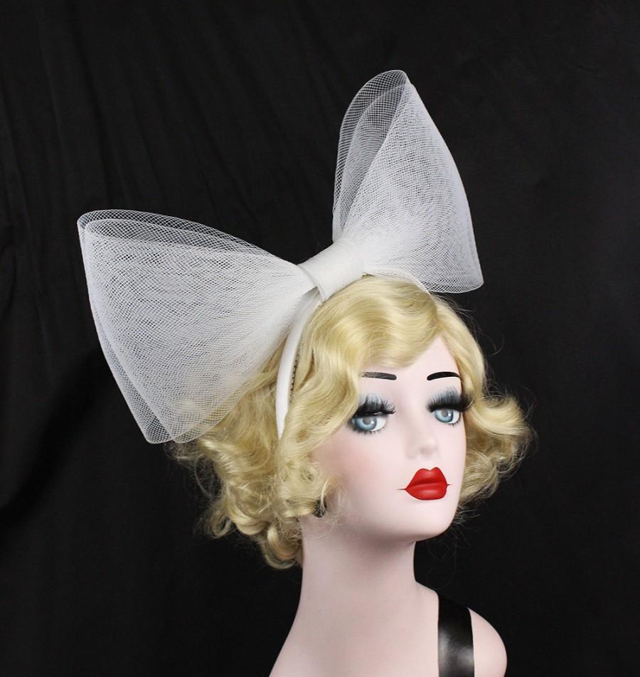Mariage - Giant Bow Headband - Alice Band - Halloween Costume - Women's Hair Accessory - White Bow Fascinator - Cosplay Headpiece