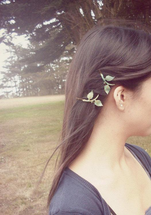 Wedding - Green Leaf Branch Bobby Pins Bridal Hair Clips Nature Botanical Fairy Elf Rustic Woodland Wedding Vintage Style Accessories Womens Gift
