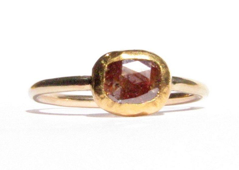 SALE Rose Cut Diamond & Yellow Gold Ring 24k Solid Gold Ring