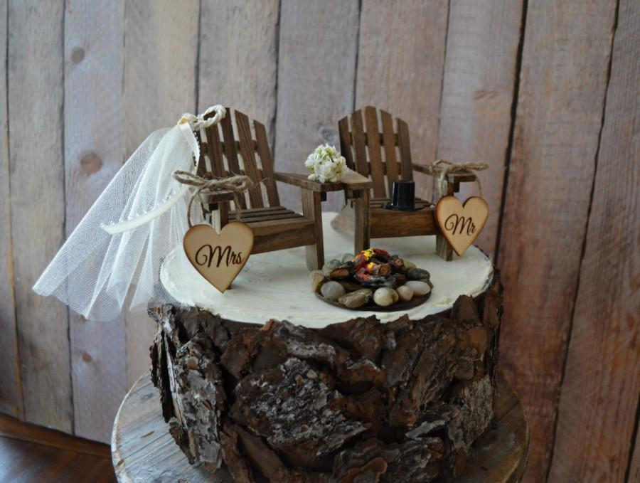 Country Wedding Chair Wedding Cake Topper Camping Hunting Fishing