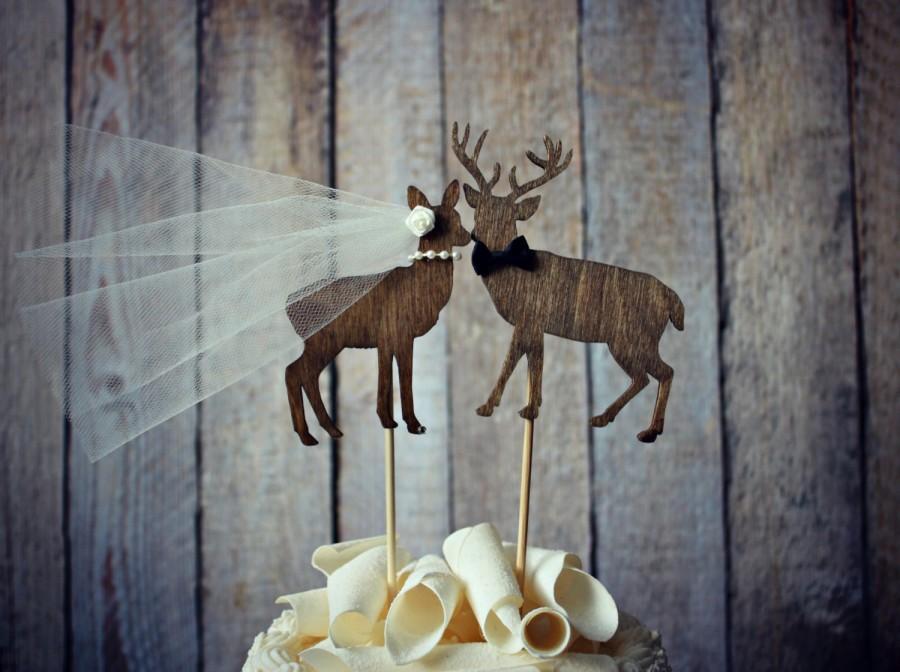 Mariage - Buck and doe bride and groom-deer wedding cake topper-hunter wedding cake topper-hunting cake topper-deer wedding-rustic wedding