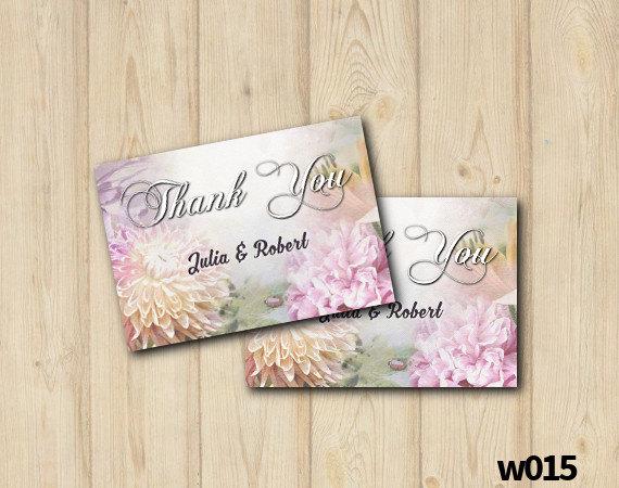 Mariage - Floral Wedding Thank You Card, Printable Watercolor Flower Thank You, Vintage Floral Wedding, Custom Digital File (w015)