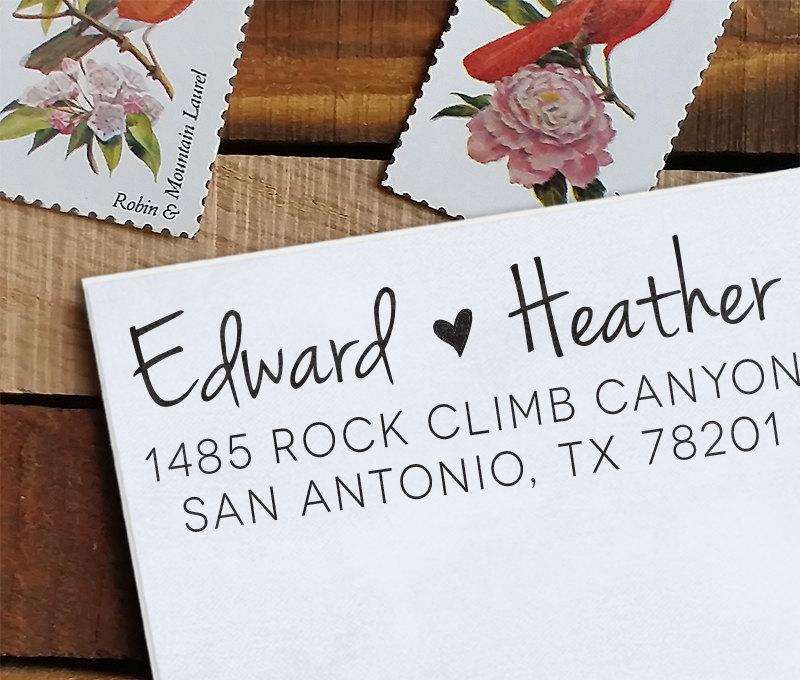 Mariage - Custom Address Stamp, Return Address Stamp, Wedding address stamp, Calligraphy Address Stamp, Self inking address stamp - Heather