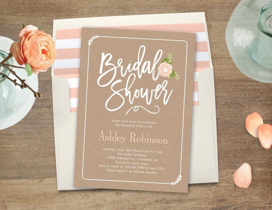 Mariage - Printable Bridal Shower Invitation - GARDEN BLOOM - with Bonus Printable Envelope Liner