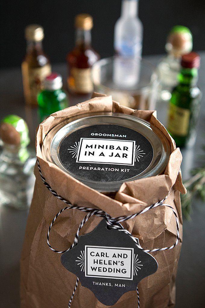 Hochzeit - Groomsmen Gifts: Minibar In A Jar