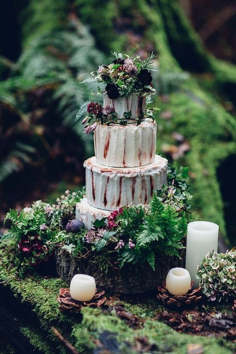 wedding theme romantic enchanted forest wedding cake 2514644