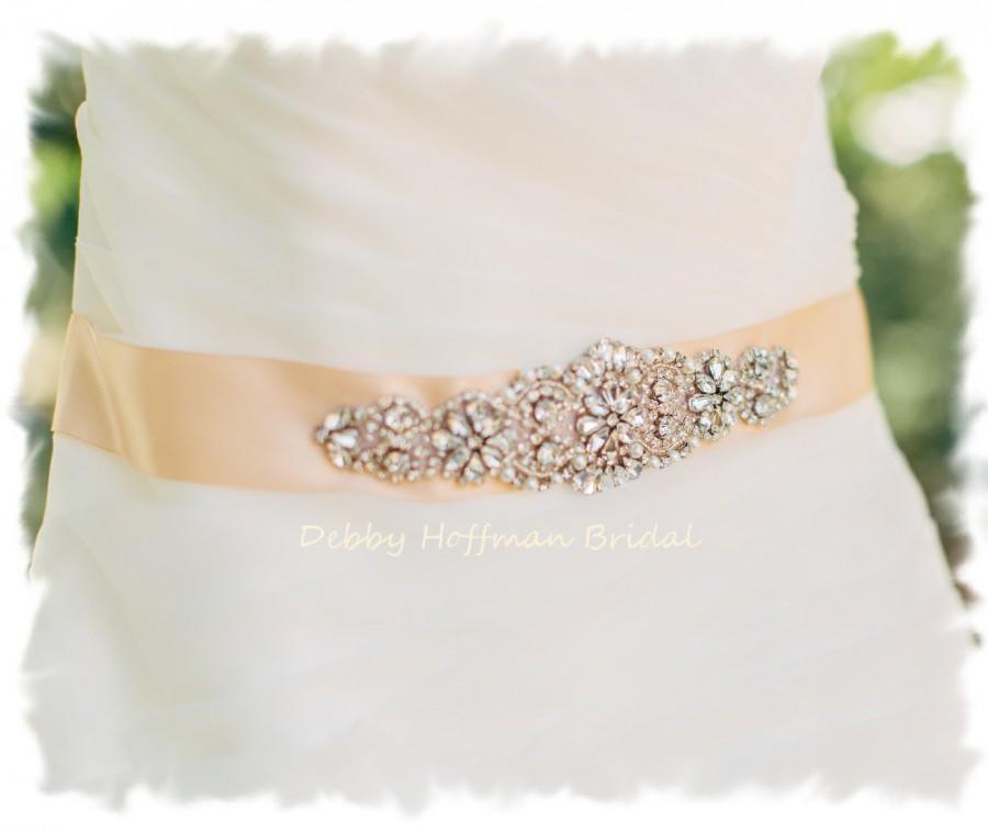 Свадьба - Blush Bridal Sash, Pearl Wedding Dress Belt, Pearl Crystal Bridal Belt, Wedding Belts Sashes, Pearl Jeweled Wedding Dress Sash, No 4060S1.5