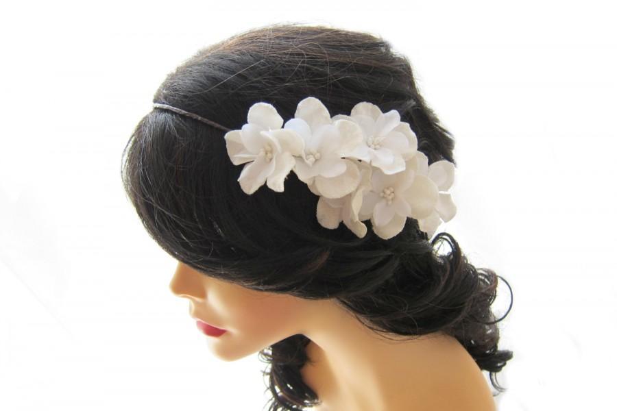 Mariage - Bridal head piece, White flower crown, Wedding head piece, Bridal hair accessories, Cherry flower headband
