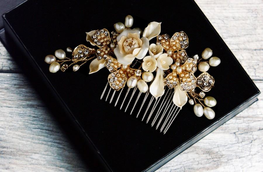 Mariage - Pearl Hair Comb, Crystal Bridal Hair Comb, Wedding Hair Comb, Bridal Headpiece, Bridal Hair Jewelry, Silver Hair Comb, Gold Hair Comb