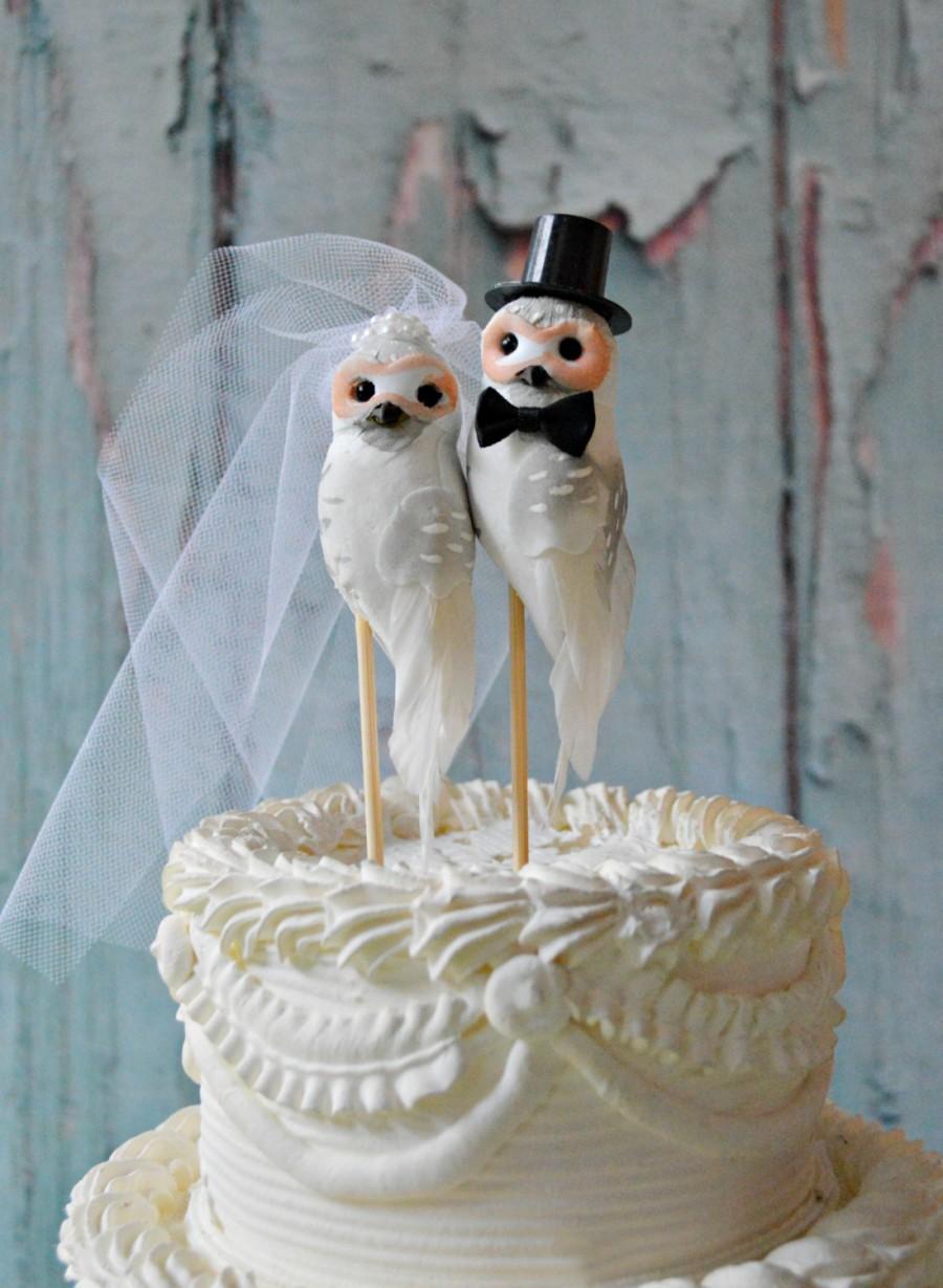 Свадьба - Owls wedding cake topper-Barn owls cake topper-Rustic cake topper-Rustic wedding-OWLS-snow owls