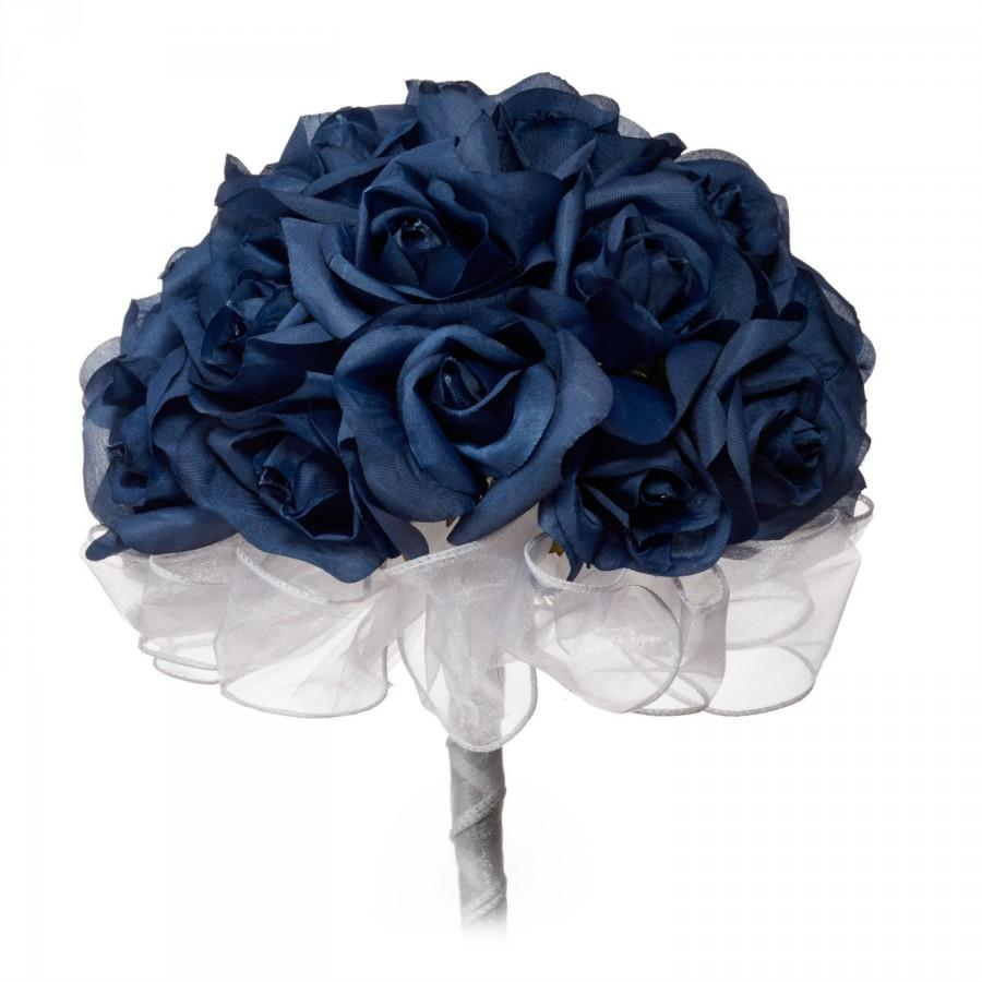 Mariage - Navy Blue Silk Rose Hand Tie (24 Roses) - Silk Bridal Wedding Bouquet
