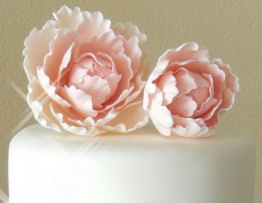 Свадьба - Pink Sugar Gumpaste Peony Set Wedding Cake Topper