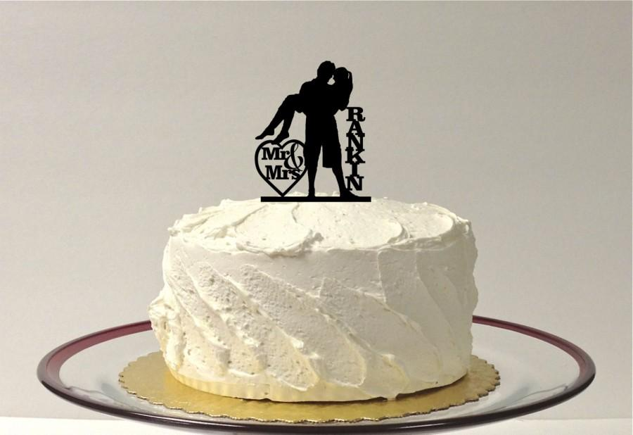 Loving Embrace Silhouette Wedding Cake Topper Personalized Family Last Name Monogram Dancing Beach Themed